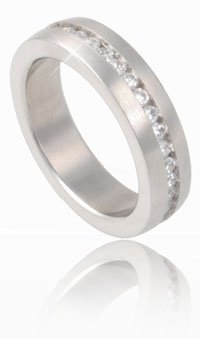 Infinate Eternity Clear CZ Stainless Steel Ring Size 9