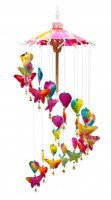 Butterfly and Hearts Paper Mobile Wind Chime. Handmade from Saar Paper. Rainbow Butterflies.