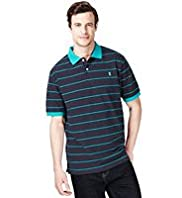 XXXL Blue Harbour Pure Cotton Striped Polo Shirt