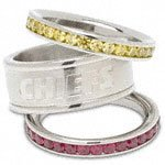 Kansas City Chiefs Team Logo Crystal Stacked Ring Set Size 8