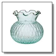 Vintage Green Glass Vase (short ruffled design)