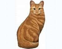 Fiddler\'s Elbow Original Design Orange Tabby Cat Hand-Stitched, Bottom-Weighted Doorstop Soft Sculpture
