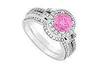 14K White Gold Pink Sapphire Diamond Engagement Ring with Wedding Band Sets 1.15 CT TGW