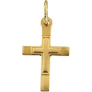 Childrens 14k Yellow Gold Cross in a Cross Engraved Necklace, 15