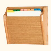 Wooden Mallet Tapered Bottom File Holder, Letter Size, Light Oak