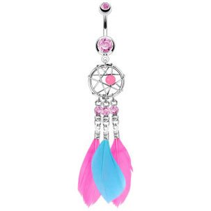 Stunning Pink & Blue DreamCatcher & Triple Feather Dangle Belly Bar