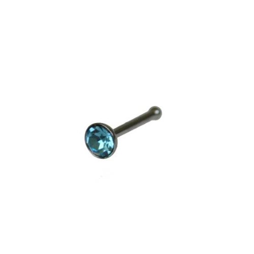 Jewellery of lords Silver Stainless Nose Stud with Blue 3mm Crystal