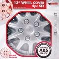 "SET OF 4 X 13 INCH ALLOY LOOK CAR WHEEL TRIMS/COVERS/SILVER 13"" HUB CAPS NS"