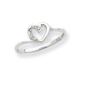 Sterling Silver Polished Diamond Heart Ring (7)