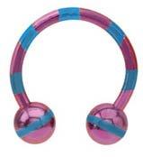 Purple pink & Blue  Ball Beads Anodized titanium