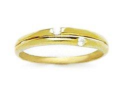 14k Yellow Gold CZ Size 3 Ball Drop Childrens Baby Ring - JewelryWeb