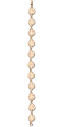 Florida State Seminoles Seminole Head 3 8 7.5Bracelet - 14KT Gold Jewelry by Logo Art