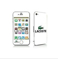 iphone 4 gsm only AT&T – 3m (white lacoste green aligator) full body skin kit * front * back * side protection