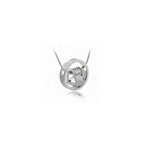 Swarovski Crystals Ring & Heart Pendant White Gold Plated necklace