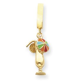 14K Enameled Open Back Tropical Drink TummyToy Belly Ring - JewelryWeb