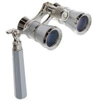 Adorama 3X25 Iolanta Opera Glass Binocular With Built-In Extendable Handle, Platinum With Silver Trim