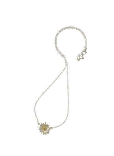 Dower & Hall Bloom - Sterling Silver & Yellow Gold Vermeil Daisy 41cm Trace Chain Necklace