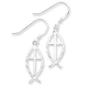 Sterling Silver Diamond Cut Cross w/Fish Earrings