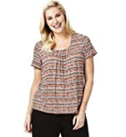 Plus Honeycomb Striped Top with Stay New™