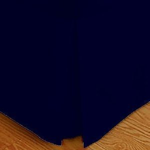 Wrinkle-Free Solid Twin Xl Size Navy Pleated Tailored Bed Skirt With 14 Inches Drop- 95 Gsm, 100% Microfiber.