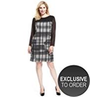 Plus Panelled Yoke Sketchy Checked Dress