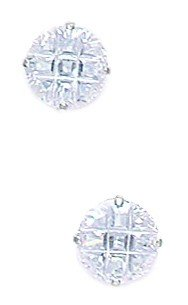 14k White Gold 7mm 9 Segment Round CZ Basket Set Earrings - JewelryWeb