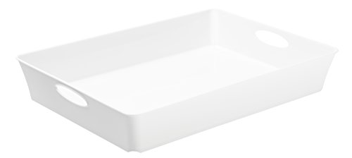 """Rotho Allzweckbox """"Living"""" aus Kunststoff, Ablageschale universell einsetzbar: als Aufbewahrungsschale, Briefablage, Briefkorb oder Aufbewahrungsbox, C4, 4.5 l, ca. 37.5x26.6x6 cm (LxBxH), weiß, auch andere Farben verfügbar"""