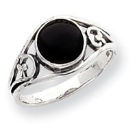 Sterling Silver Antiqued Onyx Ring - Size 8 - JewelryWeb