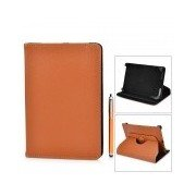 360 Degree Rotatable PU Leather Case w/ Stylus for Samsung Galaxy Tab T210 + More - Brown Brown