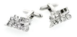 Silver plated steam train or caboose shaped cufflinks with presentation box. Made in the U.S.A