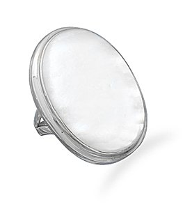 Sterling Silver Large Oval White Shell Inlay Ring / Size 8