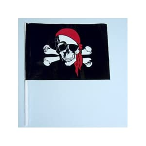 Click to buy Pirate Birthday Party Ideas: 12 Small Pirate Flags from Amazon!