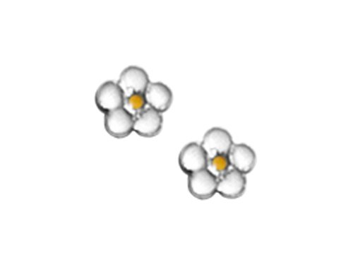925 Sterling Silver Childrens White and Yellow Flower Earrings LIFETIME WARRANTY