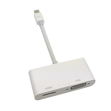 Kinglake® 2 In 1 White Mini Displayport Mini Dp To Vga & Hdmi Adapter Cable For Macbook & Air & Pro & Imac (Support 4K)