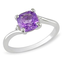 Sterling Silver 1 1/5 CT TGW Amethyst 0.01 CT TDW Diamond Fashion Ring (G-H, I3)