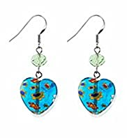Multi-Faceted Bead & Heart Drop Earrings