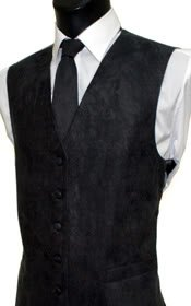 Men's Black Suede Effect Front Panel Waistcoat Size Large
