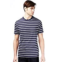 Pure Cotton Striped T-Shirt with Stay New™