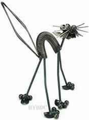 Fraidy Junkyard Cat Metal Sculpture