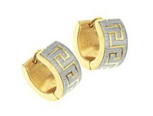 Men's 14k Yellow Gold GP Engraved Hoop Earrings 7mm
