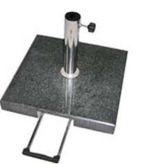 Sonnenschirmständer Granit schwarz, 50x50 cm, 55 kg schwer, rollbar, mit Caddy