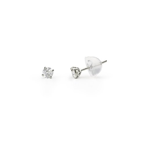 3mm Round CZ Cubic Zirconia Stud 14K White Gold Earring