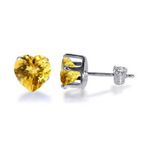 TDEZ2190-Y Nickel Free Sterling Silver 5mm Heart Citrine Cubic Zirconia Post Back Stud Earrings