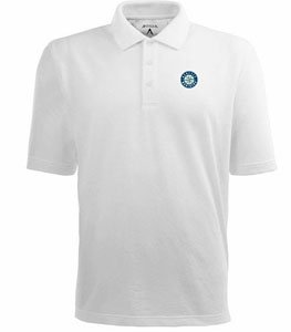 Seattle Mariners Classic Pique Xtra Lite Polo Shirt (White) - XXX-Large by Antigua