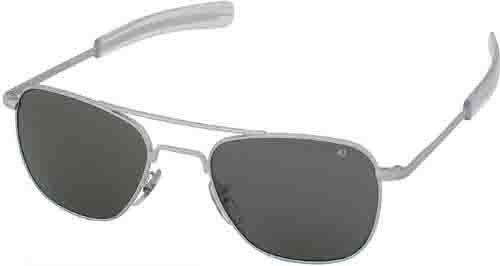 Ao American Optical Original Pilot Sunglasses Matte Chrome 52Mm Bayonet Temples