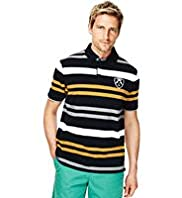 Blue Harbour Pure Cotton Double Striped Polo Shirt