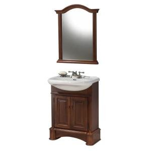 Foremost Valenza 27 in. Vanity in Light Cherry with Vitreous China Top in White and Mirror