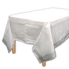 "Amscan Elegant with Trim Premium Quality Paper Table Cover, 54"" x 102"", White"