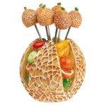 Creative Stainless Steel Fruit Shaped Embellished Fruit Forks-Honey-dewmelon(6-Fork Set)