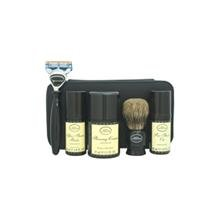 Travel Kit - Unscented By The Art Of Shaving 1Oz Pre-Shave Oil, 1.5Oz Shaving Cream, 1Oz After-Shave Blam, Shaving Brush, Razor, Cartridge, Leather Case For Men 7 Pc Kit